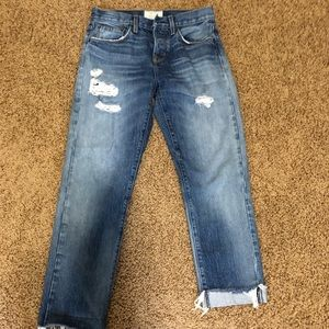 Current/Elliot crossover distressed jeans
